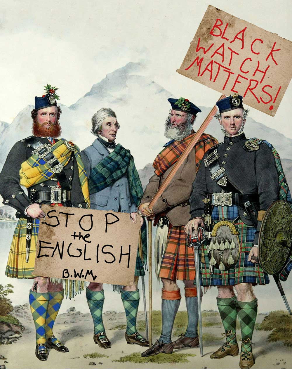painting of kilted men disputing the dress act
