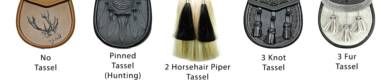 different variations of tassels for the sporran